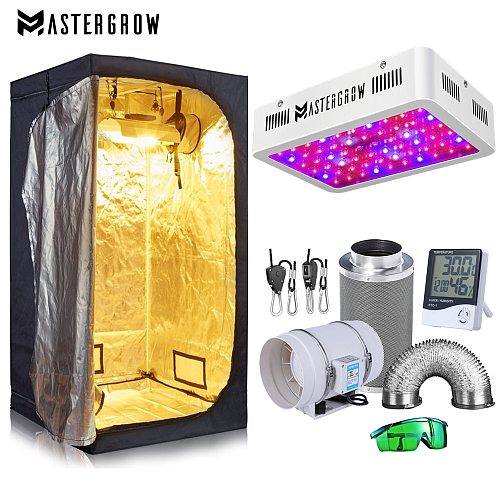 Grow Tent Room Complete Kit Hydroponic Growing System 1000W LED Grow Light + 4 / 6  Carbon Filter Combo Multiple Size Dark Room