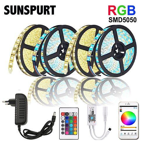 5m-100m WiFi/IR/2.4G Touch LED Strip Light RGB SMD 2835 5050 RGBW/RGBWW 60leds LED Strip Tape DC 12V+ Remote Control+ Adapter EU