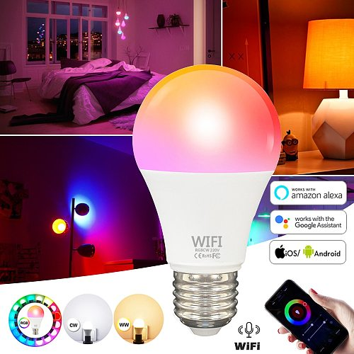 WiFi Smart Light Bulb B22 E27 LED RGB Lamp Work with Alexa/Google Home 85-265V RGB+C+W Dimmable Timer Function Magic Bulb