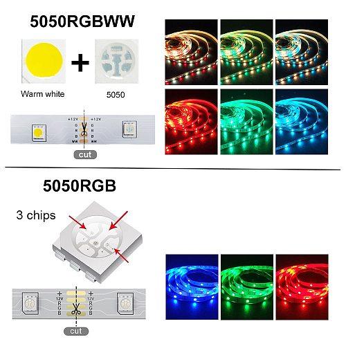 Bluetooth RGB+white Led Strip Light RGBWW DC12V Flexible Individually Addressable Tape Led Ribbon 5M 10M 15M 20M Led Strip Light
