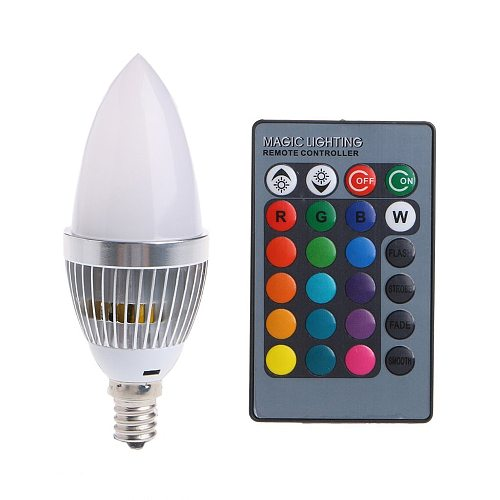 E12 E14 Candelabra LED Bulb RGB 3W 16 Color Changeable LED Lamp Candle Light Remote Control Dimmable LED Light Bulbs Home Decor