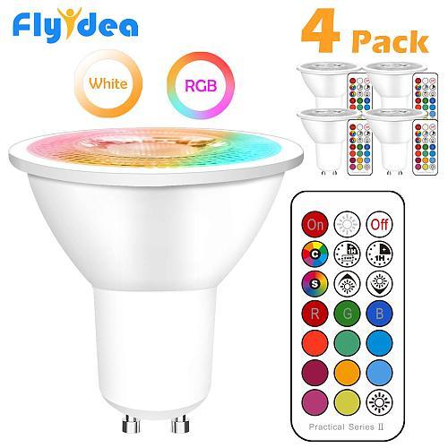 GU10 LED Lamp Color Spotlight Indoor Neon Sign Light Bulb  RGB Tape With Controller Lights Lighting COB 220V Dimmable Smart Bulb