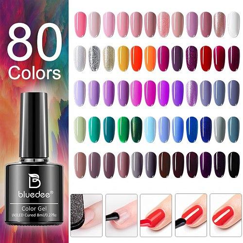 Bluedee 8ml Gel Nail Polish For Manicure Nail Art UV LED Lamp Soak-Off Nail Varnishes Semi-permanent Gel Polish For Extension