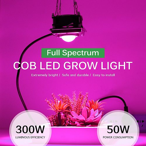 300W LED Grow Light Full Spectrum High Luminous Efficiency for Indoor Hydroponic Greenhouse Plant Growth Lighting.