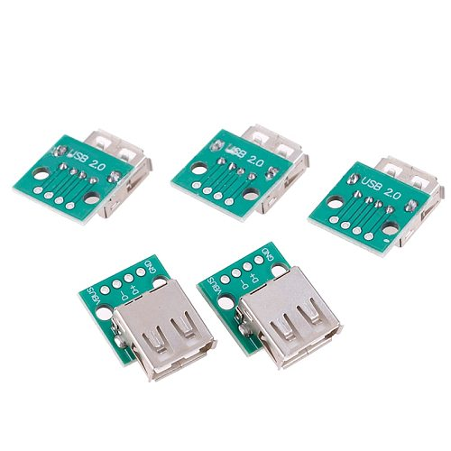 5pcs Type A Female USB To DIP 2.54mm PCB Connector USB PCB Board Connectors