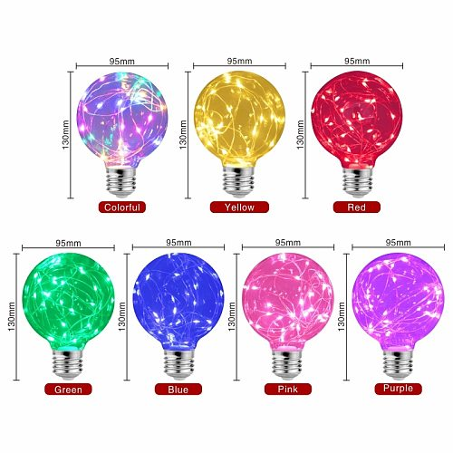 LED Edison String Light Bulb E27 110V 220V G95 Colorful RGB Lighting Copper Wire Bulb Home Decor Holiday Night Light Lamp