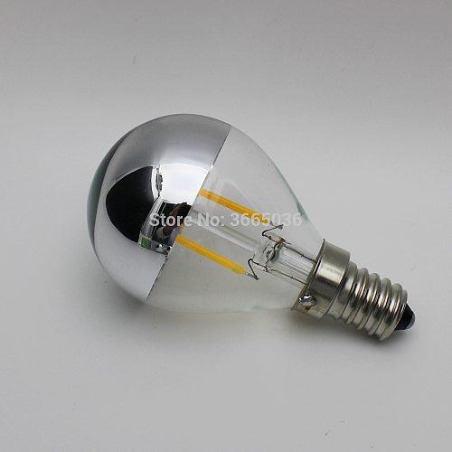 1pcs Silver G45 2W 110V 220V E14 E12 E26 E27 LED Filament Bulbs Mirror Half Chrome Globe bedroom Vintage light lamps