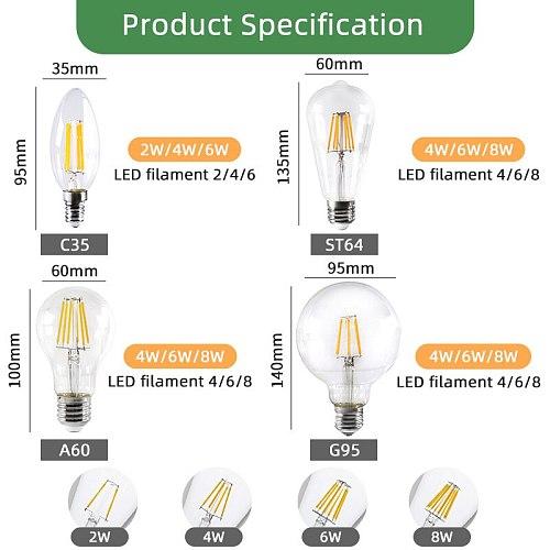 Kaguyahime LED E27 Edison Lamp Retro Filament Bulb 220V E14 Edison LED Vintage Ampoule Lighting E27 Edison Bulb Lamp Holder