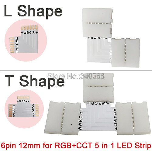 5pcs/lot 12mm 6PIN 6 Pin RGB+CCT L Shape or T shape No Soldering Easy Connector For RGB CCT LED Strip 6 PIN Connector
