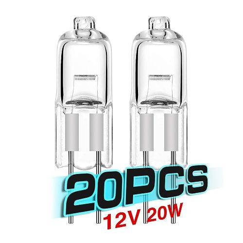 Cheap 20pcs 20W Halogen Energy Saving G4 Light Bulb Tungsten Halogen Lamp JC Type DC 12V G4 Base Clear Lights Two-Pin