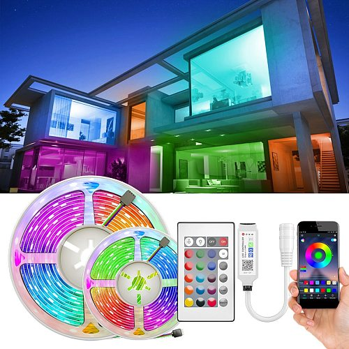RGB LED Strip 15M Led Light Tape 5050 SMD 2835 5M 10M DC 12V Waterproof RGB LED lamp diode Ribbon Flexible Controller+Adapter EU