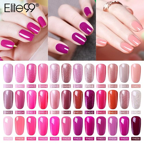 Elite99 Gel Varnish Soak Off UV LED Gel Nail Polish Base Coat 10ML Pink Orange LED Lamp Nail UV Curing Gel Polish Gel Lacquer