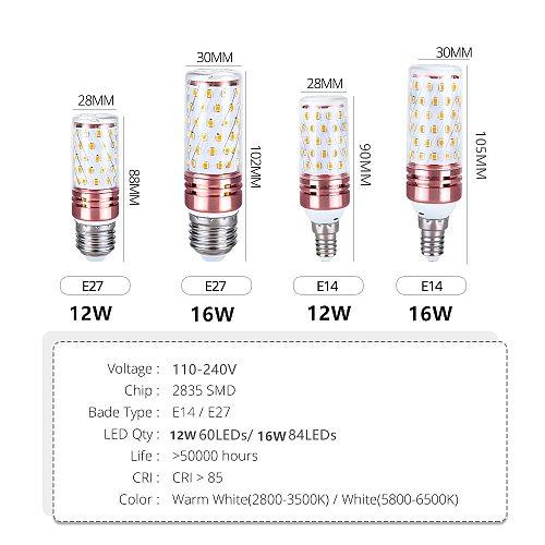 Led Corn Bulb Light E14 Chandelier Candle Light E27 Lamp 2835 SMD110V 220V Warm White 3000K Cool White 6500K Nature white 4000K