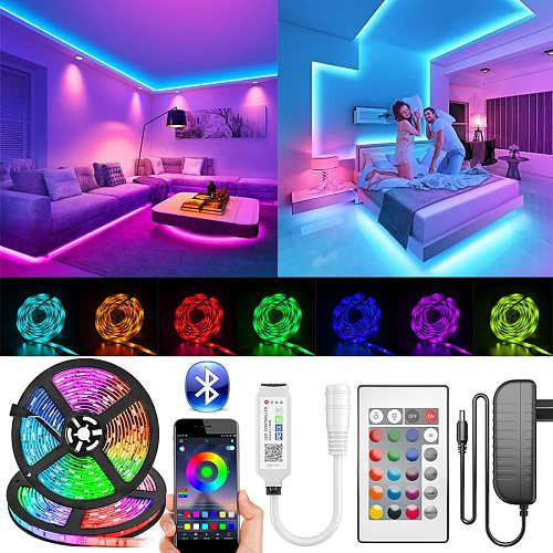 5050 SMD Bluetooth LED Strip Lights 30M 20M RGB LED LightFlexible Ribbon Waterproof Tape Diode DC 12V Bluetooth Control