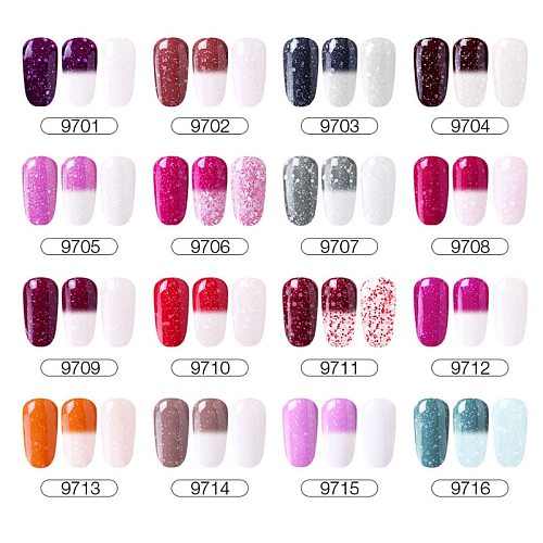 CLAVUZ 10ml Winter Snowy Thermal Changing Color Nail Gel Polish UV LED Lamp Semi Permanent Chameleon Varnish Lacquer 30 Colors