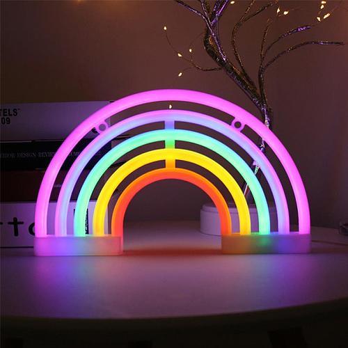 Cute Rainbow Neon Sign LED Rainbow Light Lamp For Dorm Decor Rainbow Decor Neon Lamp Wall Decor Christmas Neon Bulb Tube