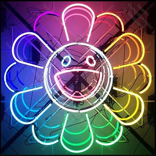 Neon Sign for Rainbow Flower Smile Neon Light Sign Big Mouth Hotel Store Display Bar Club Sign Tubes Neon lights Advertise Lamps
