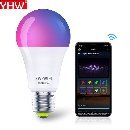 YHW Wifi Light Bulbs Work with Alexa Google Home, RGBCW Color Changing Smart Bulb 220V Dimmable Lamp Ambient Light E27 LED Bulb