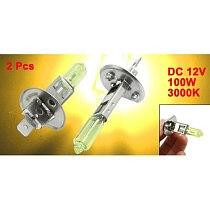 2 Pcs DC 12V 100W H1 3000K Super Yellow LED Car Fog Light Bulb Lamp