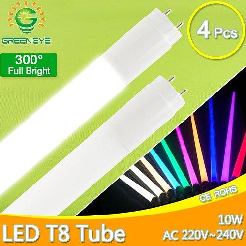 LED T8 Tube milky cover 10W 60CM 220V 4pcs/lot Warm Cold White Red Blue Green Pink SMD2835 led fluorescent T8 LED tube lamp neon