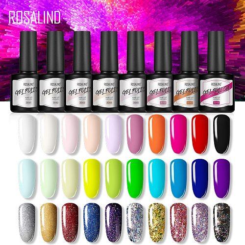 ROSALIND Gel Nail Polish Varnishes Semi Permanent Base top Need UV LED Lamp Manicure Art Hybrid nails Gel polish