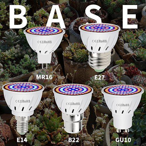 Led Grow Bulb E27 Plant Light E14 Growth Indoor Lamp 48 60 80 Leds GU10 Full Spectrum Lighting MR16 220V Led Phyto Lamp B22 240V