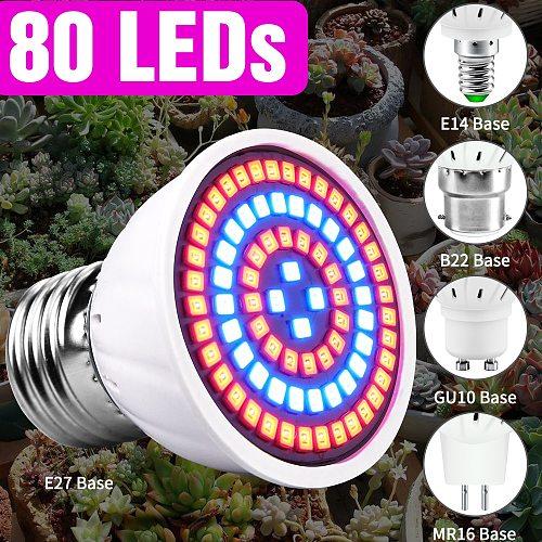 80leds E14 Full Spectrum Led Lamp Plants Grow Light E27 220V Growing Lamp GU10 Fitolamp MR16 Hydroponic Indoor Grow Tent B22