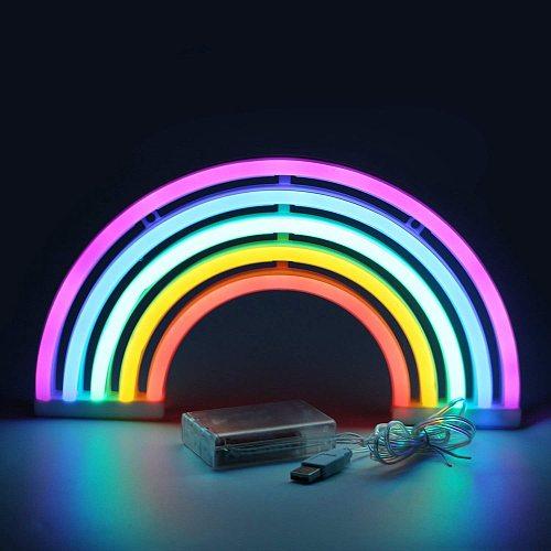 Rainbow Neon Signs LED Colorful Pink Light for Dorm Decor Purple Desktop Lamp Decoration Neon Sign Wallpaper Christmas Neon Bulb