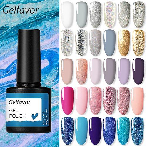 Gelfavor Nail Gel polish 8ml Varnish Hybrid Manicure Set For Nail Art Semi Platinum Painting UV LED Lamp Nails Gel polish