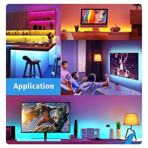 Led Strip Light USB Bluetooth APP 1M 2M 3M 4M 5M TV Backlight Screen Lighting Music Sync RGB Tape  Lights For Room/living room