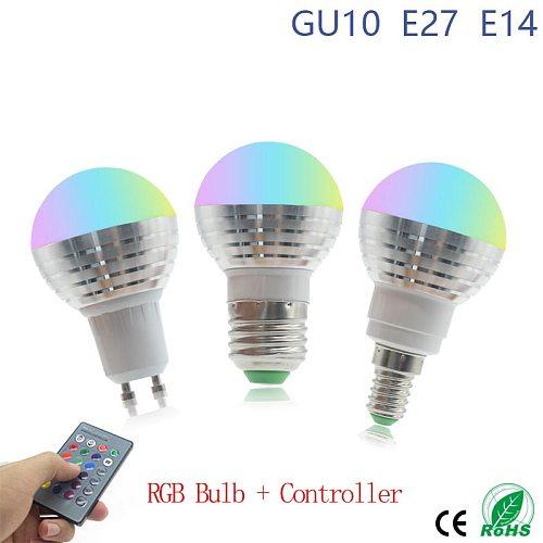 Magic RGB LED Light Bulb AC85-265V Smart Lighting Lamp Color Change Dimmable With IR Remote Controller E27 E14 GU10 Smart Bulb