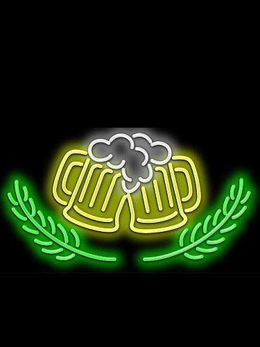 Decorative Light BEER MUGS Ear of Wheat Neon Light Sign Restaurant Beer Bar light Enseigne Lumineuse Handmade Real Glass Tube