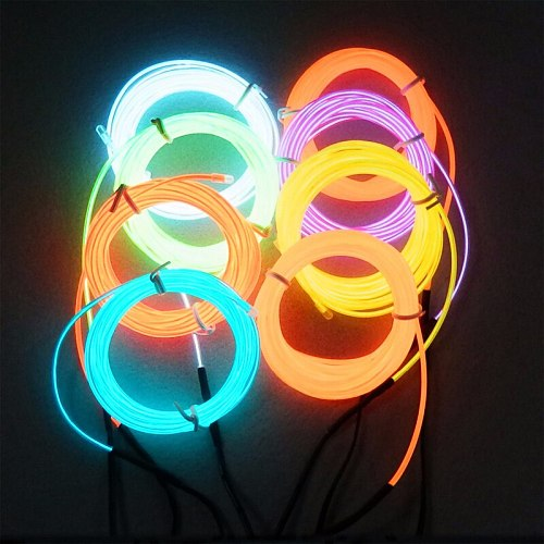 1M/2M/3M/5M EL Wire Neon Light Dance Party Holiday Decor Light Neon LED lamp Flexible 3V EL Wire Rope Tube Waterproof LED Strip