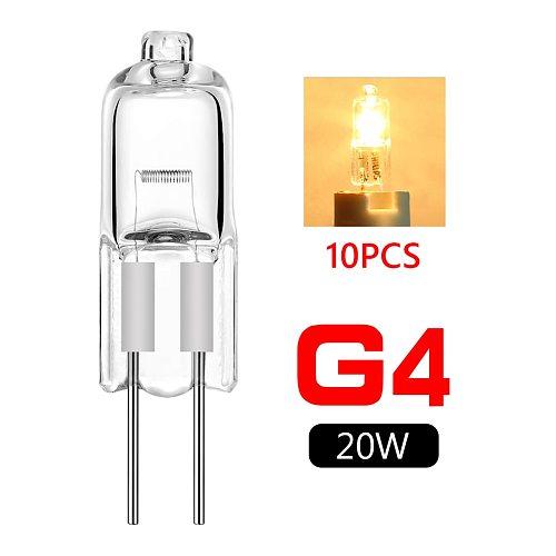TSLEEN 10 Pcs G4 Base Halogen JC Type Lights Bulbs Lamp 2-pin 20W DC/AC 12V 2800K Warm White Indoor Clear durable Super Bright