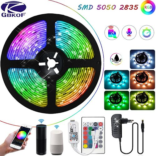 RGB LED Strip Lights 5050 2835 5M 10M 15M SMD Wifi Flexible DC12V Room Decoration Compatible With Alexa Google Christmas Lights