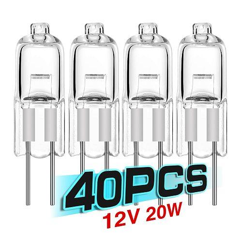 40PCS/LOT SALE Ultra g4 12 v 20 w halogen lamp G4 12V bulb inserted beads crystal lamp halogen bulb 20W 12V low price