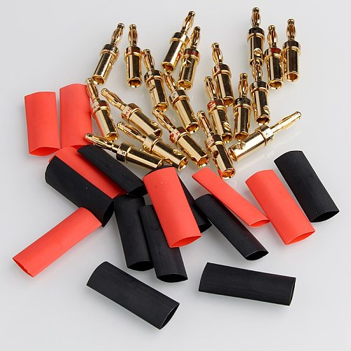 4/8PCS Gold Speaker Banana Plug Cable Wire Adapters Plugs Copper Straight Connectors For Musical Audio with Heat Shrink Tube Kit
