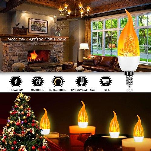 LED Flame Flickering Bulb LED Fire Emulation Light E14 E27 Candle Lamp 4 Modes Lighting Creative Xmas Atmosphere Lamp Home Decor