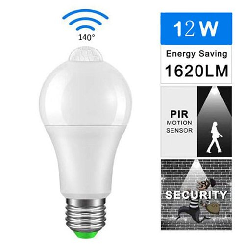 LED PIR Motion Sensor Lamp E27 110-220V 12 W Automatic ON/OFF LED Bulb Light Sensitive Human Body Movement Detector Lights 0204