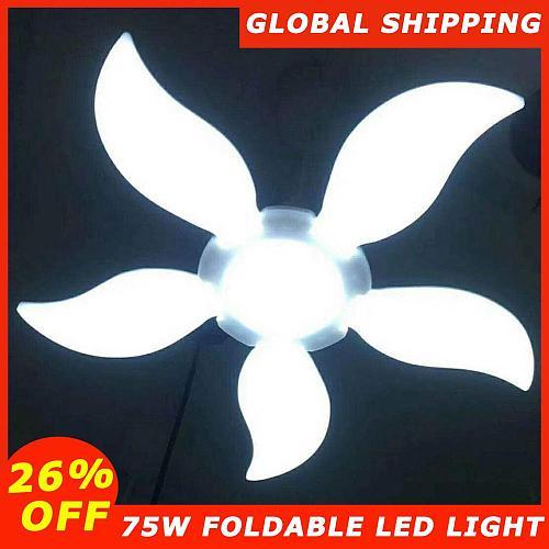75W E27 Deformable LED Garage Light Fan Blade Angle Adjustable Ceiling Lamp Classic Foldable LED Light