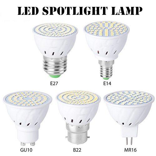 10pcs New GU10 LED E27 Lamp E14 Spotlight Bulb 48 60 80leds lampara 220V GU 10 bombillas led MR16 B22 Lampada Spot light