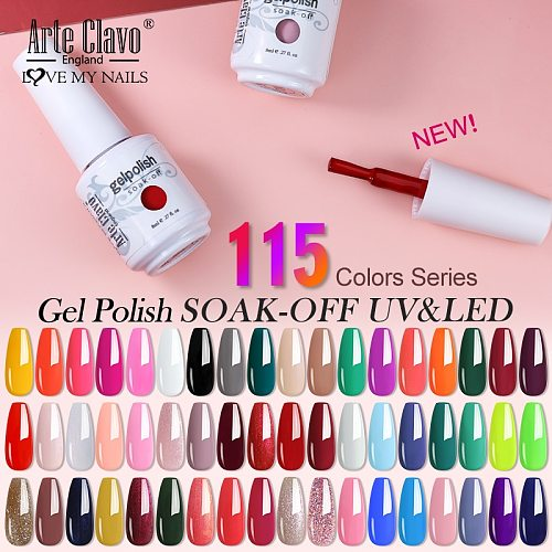 Arte Clavo Art Nails Varnish Top Base Coat Gel Nail Polish UV LED Lamp 115 Colors Soak Off Nail Manicure Semi Permanent 8ml DIY