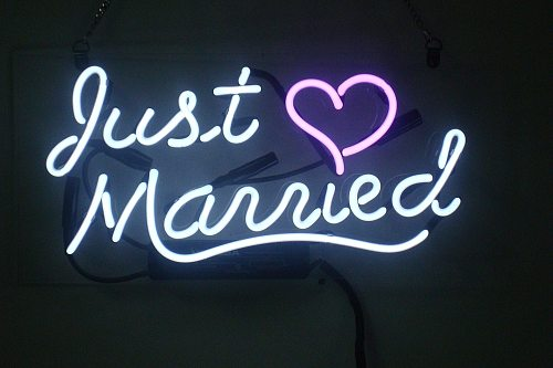 """14"""" Just Married Heart Love Acrylic Custom Neon Light Lamp Sign Beer Bar Real Glass Decorate Home Wall Room Windows Tube Artwork"""