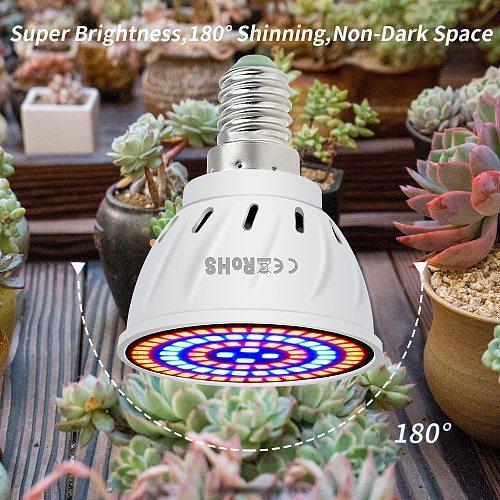 80LED E27 Full Spectrum Led Grow Light E14 Flower Seedling Hydroponics Lamp GU10 Plant Bulb Led Lighting MR16 Phyto Lamp 220V