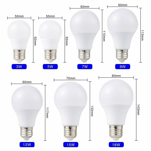 High Quality E27 LED Bulb Lamp No Ficker with driver 3w 5w 7w 9w 12w 15w 18w Lampada LED Light Bulb 220V-240V Spotlight Lighting