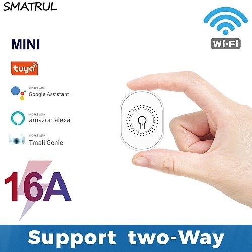 SMATRUL Tuya WiFi Smart Switch Light 16A Mini 2 Way Module DIY On Off Can Timing Control Wireless Breaker For Google Home Alexa