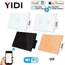 US WiFi Smart Wall Switch 1 2 3 4 Gang 1 2 3 Way Tuya Smart Home Wireless Remote Control Light Touch Switch, Alexa Google Hom