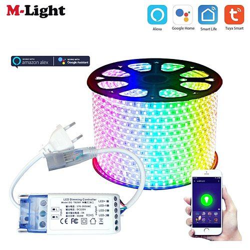 1M-15M 220V 230V Tuya Smart Life 5050 RGB LED Strip Light Contoller Wifi APP Voice Wireless Work With Alexa Echo Google Home