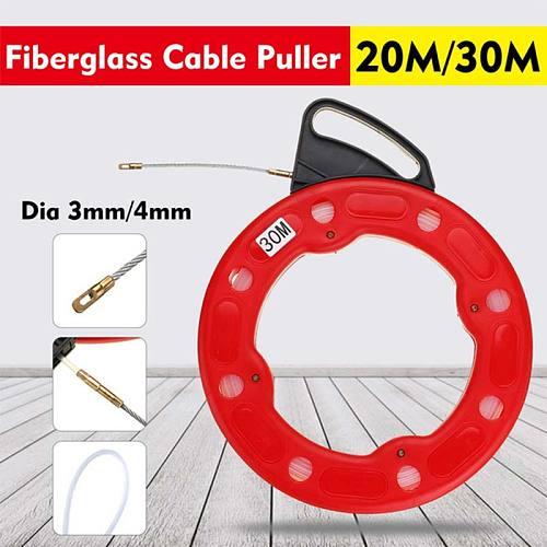 20M/30M Fiberglass Fish Tape Reel Puller Conduit Ducting Pulling Flexible Nylon Wire Cable 3.0/4.0mm