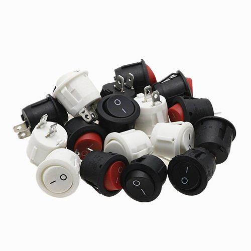 6Pcs 20mm Diameter Round Rocker Switches Black Mini Round Black White Red 2 Pin ON-OFF Rocker Switch KCD1-105